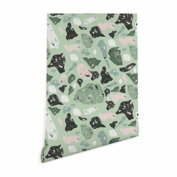green terrazzo wallpaper peel and stick