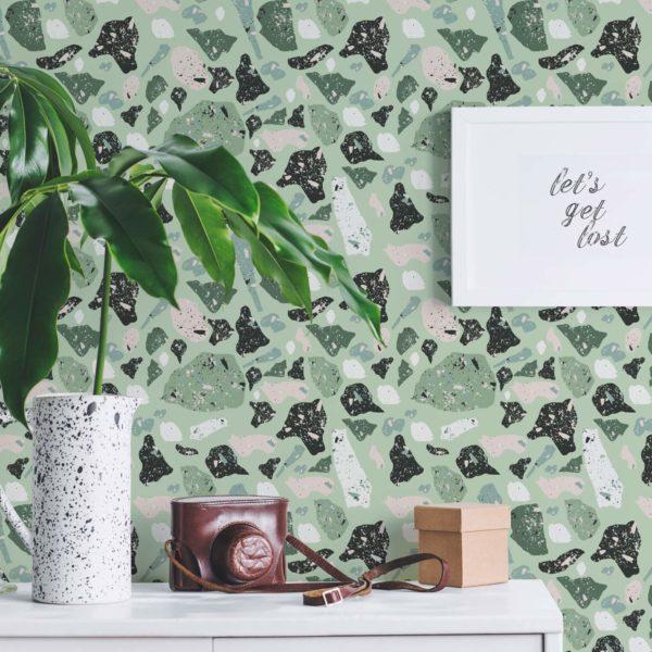 green terrazzo removable wallpaper