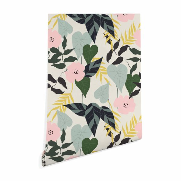 green tropical leaf and flower wallpaper peel and stick