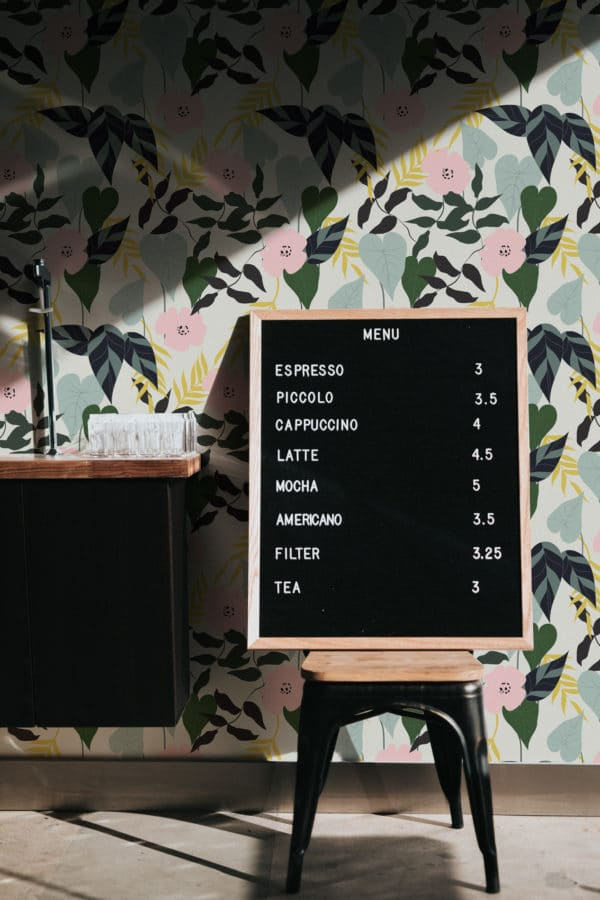 green tropical leaf and flower removable wallpaper