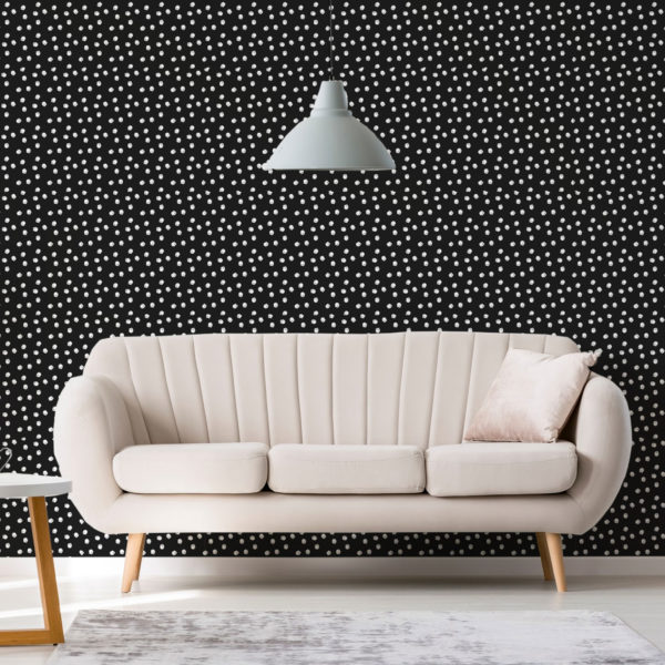 white and black hand-drawn circles self-adhesive wallpaper