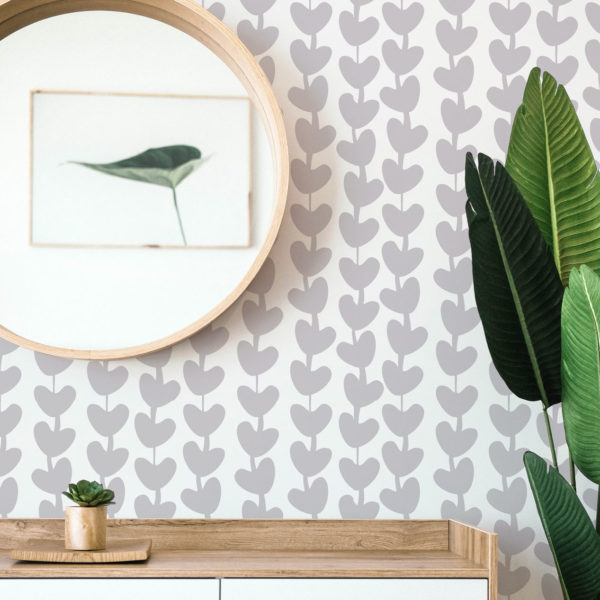 gray heart peel and stick removable wallpaper