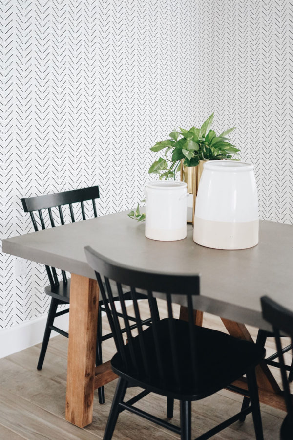 black and white herringbone peel and stick removable wallpaper