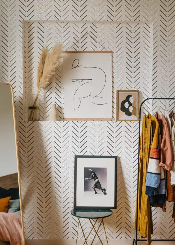 herringbone stick and peel wallpaper