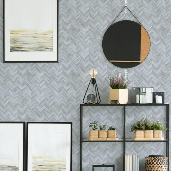 gray herringbone wood wallpaper roll