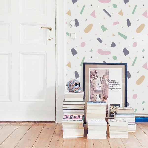 pink large terrazzo removable wallpaper