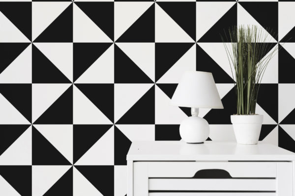 black large triangle self-adhesive wallpaper