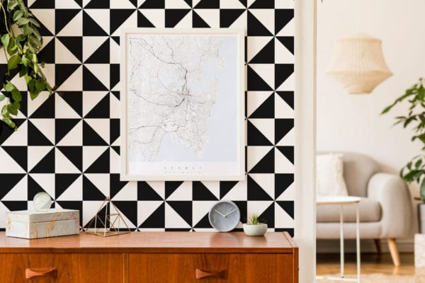 black large triangle peel and stick wallpaper
