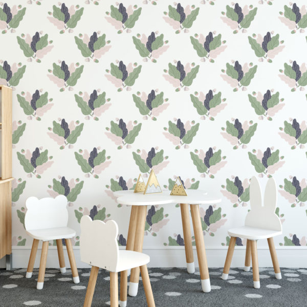 green leaf illustration self-adhesive wallpaper