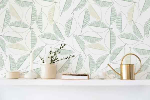 green leaf line art self-adhesive wallpaper