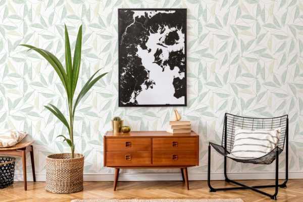 green leaf line art peel and stick removable wallpaper