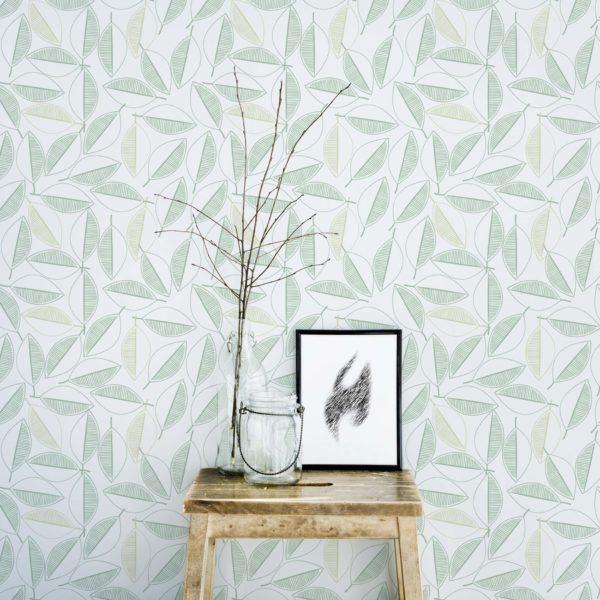 leaf line art stick and peel wallpaper