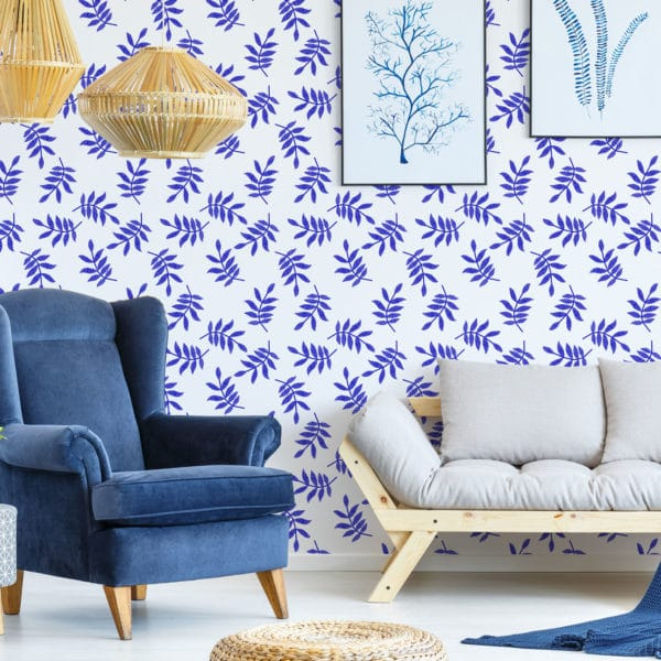 blue and white leaf peel and stick wallpaper