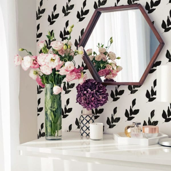 black and white leaves with green accent removable wallpaper