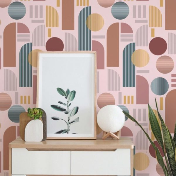 brown and pink light arch peel and stick wallpaper