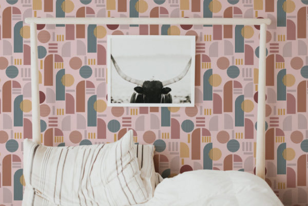 brown and pink light arch self-adhesive wallpaper
