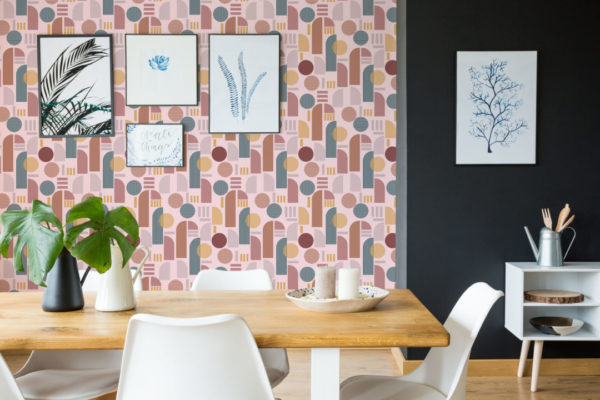 brown and pink light arch removable wallpaper