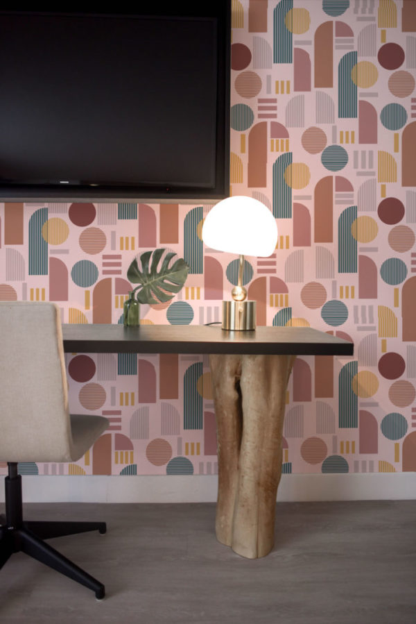 brown and pink light arch wallpaper peel and stick