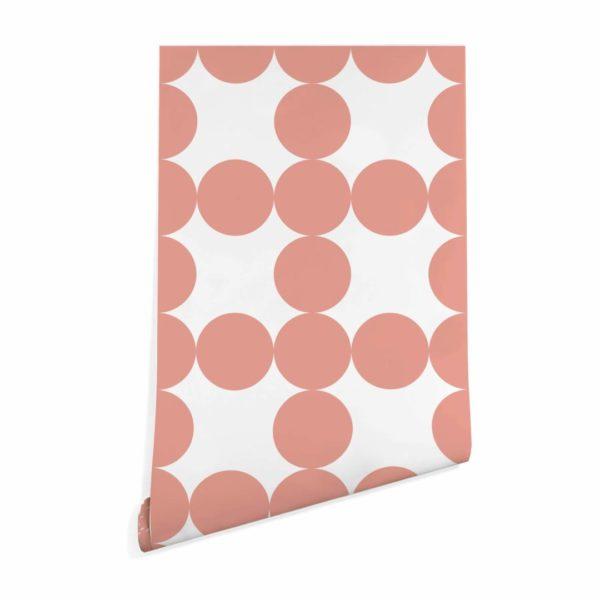 mauve and white circle grid self-adhesive wallpaper