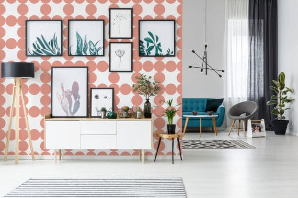 mauve and white circle grid removable wallpaper