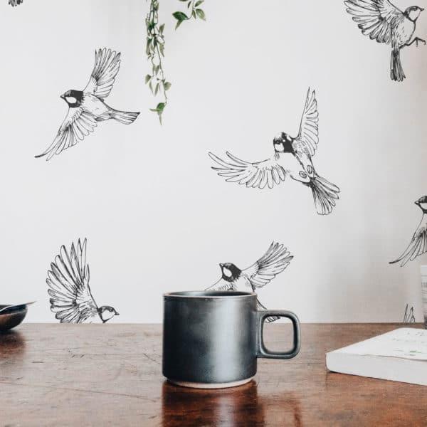 black minimalistic sparrow self-adhesive wallpaper