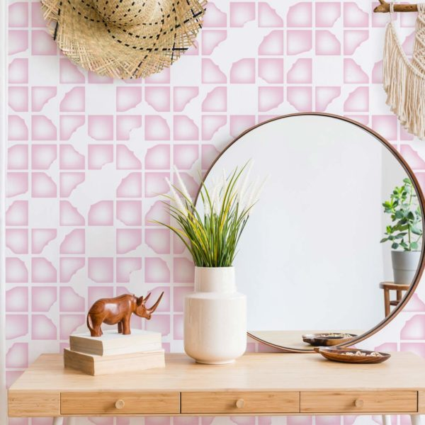 pink and white modern abstract peel and stick wallpaper