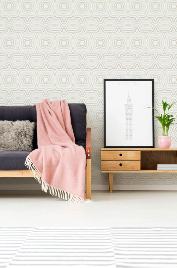 beige modern boho abstract peel and stick wallpaper