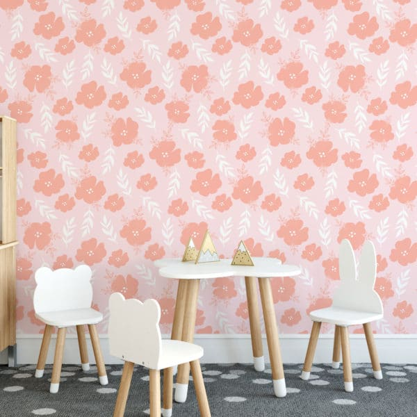 pink modern floral peel and stick wallpaper
