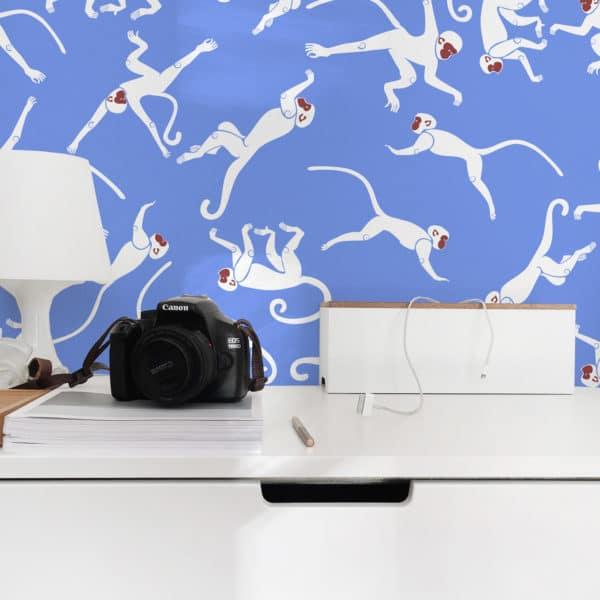 blue monkey peel and stick wallpaper