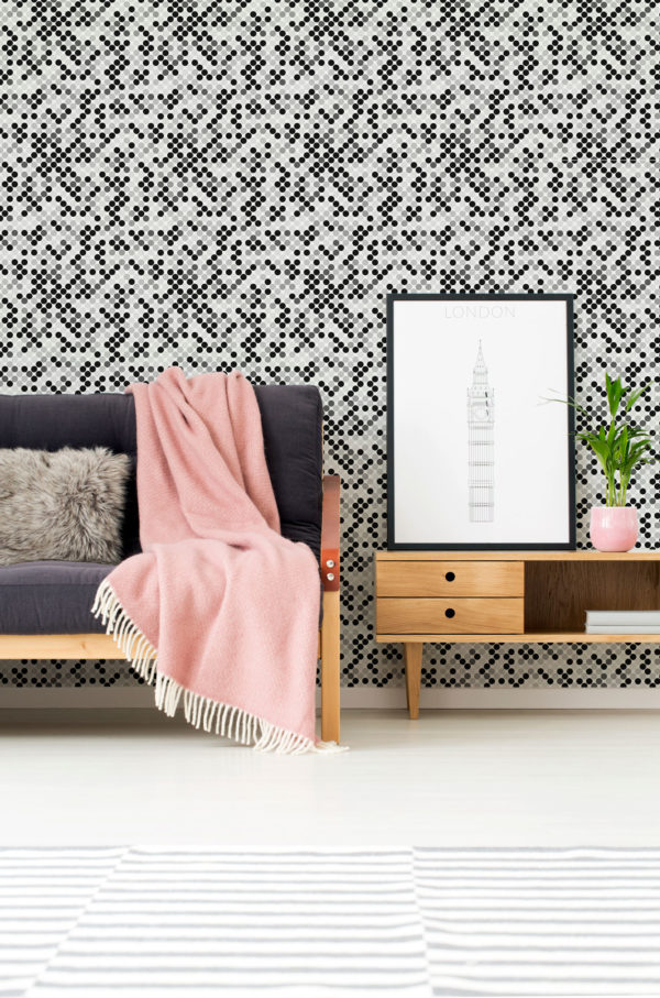 black monochrome polka dots self-adhesive wallpaper