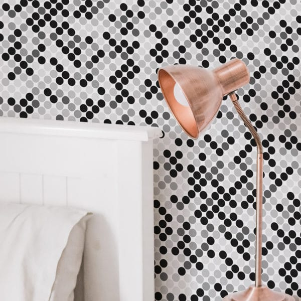 monochrome polka dots stick and peel wallpaper