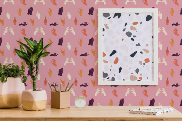 multicolor hand gesture peel and stick wallpaper
