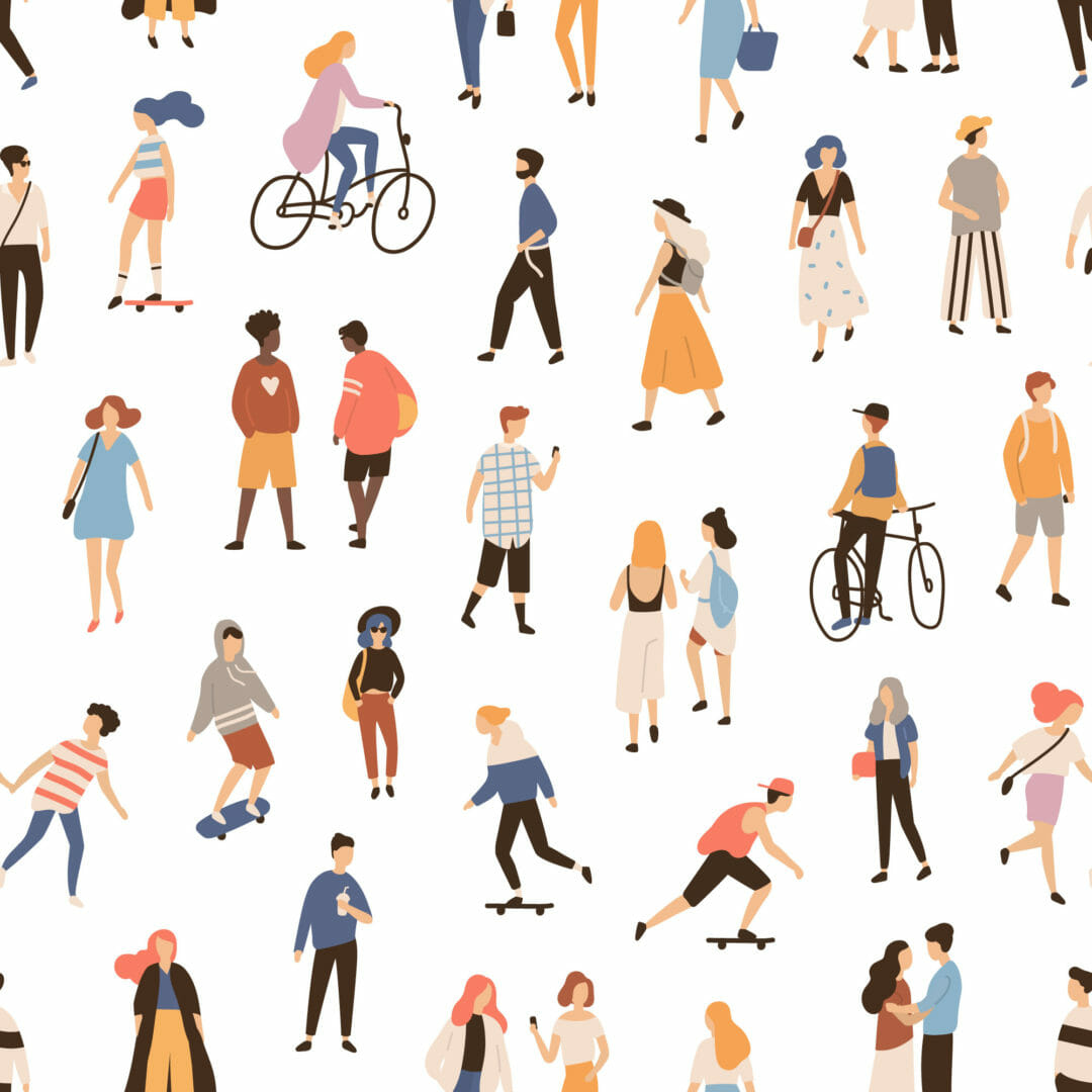multicolor people in the city peel and stick wallpaper