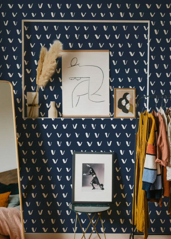 navy blue and white check mark peel and stick wallpaper