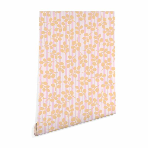 orange floral and stripes peel and stick removable wallpaper