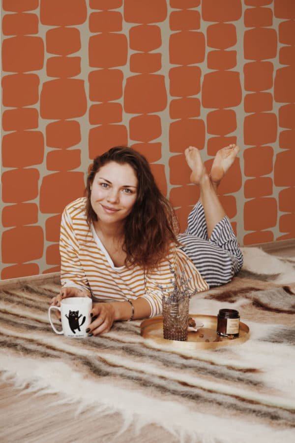 retro shape stick and peel wallpaper
