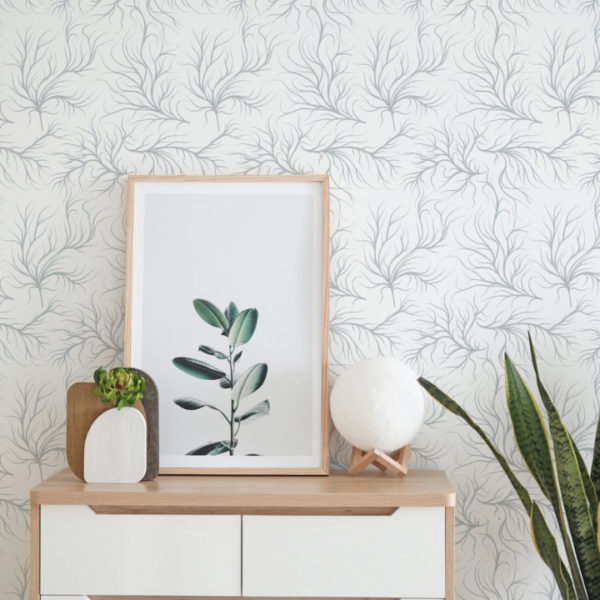 gray and white organic self-adhesive wallpaper