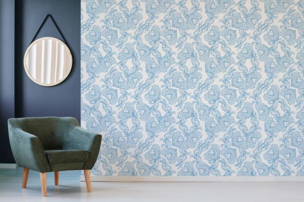 blue and white oriental floral self-adhesive wallpaper