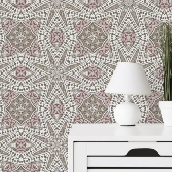 oriental geometric stick and peel wallpaper