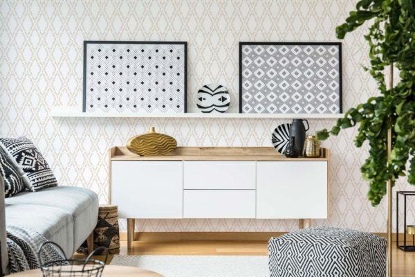 vanilla ornamental diamond self-adhesive wallpaper
