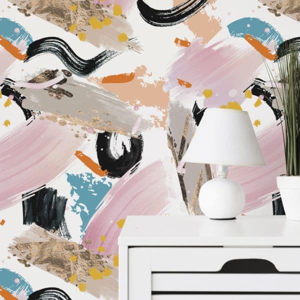 pink paint strokes self-adhesive wallpaper