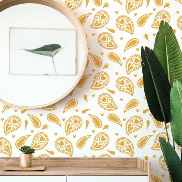 yellow paisley self-adhesive wallpaper
