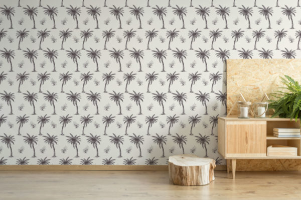 beige palm toile peel and stick removable wallpaper
