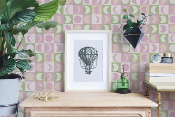 pink pastel moon wallpaper peel and stick