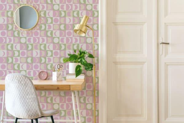 pink pastel moon wallpaper roll
