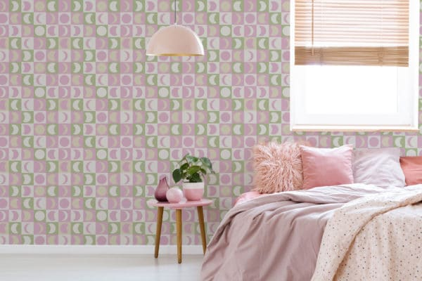 pink pastel moon removable wallpaper