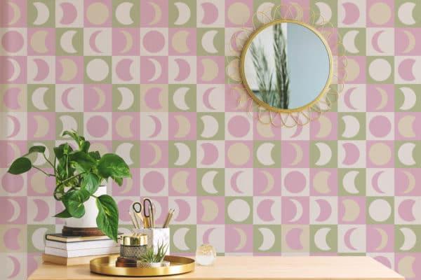 pink pastel moon self-adhesive wallpaper