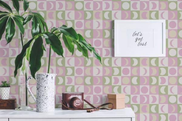 pink pastel moon peel and stick wallpaper