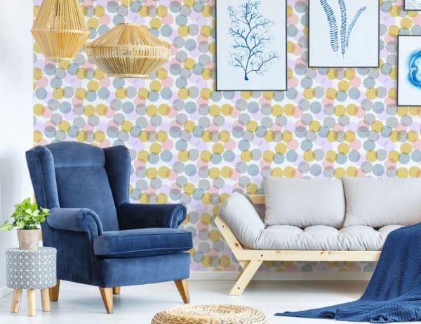 pink pastel zig-zag polka dots wallpaper peel and stick