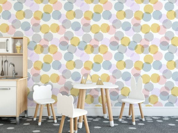 pink pastel zig-zag polka dots wallpaper roll